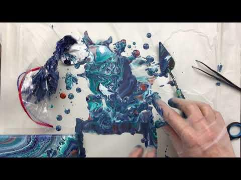( 653 ) acrylic pouring with metallic