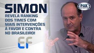 NÚMEROS DO VAR: SIMON REVELA RANKING DOS TIMES COM MAIS INTERVENÇÕES À FAVOR E CONTRA NO BRASILEIRO!
