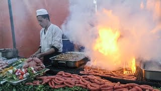 The Flaming Grills of Marrakech. Street Food of Morocco. Jemaa el-Fna Square