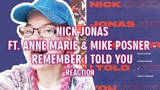 NICK JONAS FEAT. ANNE MARIE & MIKE POSNER - REMEMBER I TOLD YOU (REACTION) | Sisley Reacts