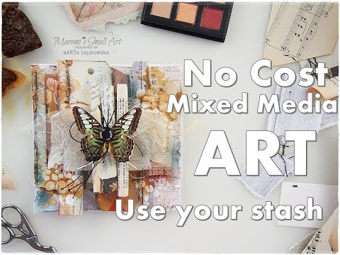 No Cost Mixed Media Cardmaking Use Your Craft Stash ♡ Maremi's Small Art ♡