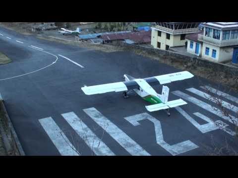 Lukla Airport Nepal Take-off and Landing in HD