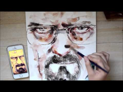 Speed Up Watercolor Portrait Painting - Walter White