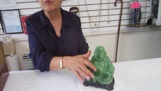 Green Faux Jade Buddha Statue