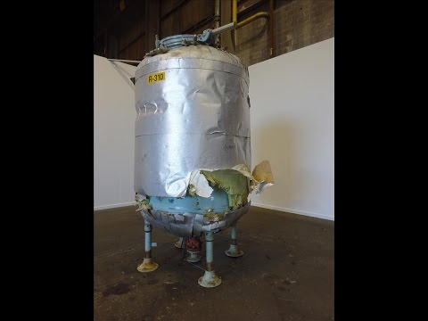Used- Pfaudler Glass Lined Tank, 1000 Gallon - stock # 48199015