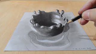 3D Art Drawing, How to Draw Splash, Amazing 3D