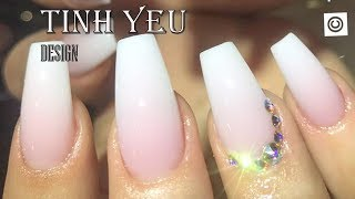 alex nail art desgn/nail technician-TINH YEU/HOW TO MAKE OMBRE PINK AND WHITE  WITH GRANITE STON#4