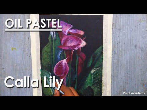 Oil Pastel Drawing : A Composition on Calla Lily