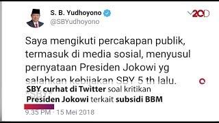 Lewat Cuitan, SBY Respons Kritik Jokowi soal Subsidi BBM