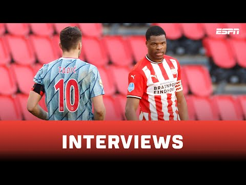 ⚔️ Denzel Dumfries vs. Dusan Tadić | Interviews na afloop van PSV - Ajax
