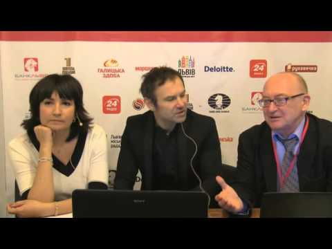 Svyatoslav Vakarchuk's first move in Round 4 of the Match and interview.