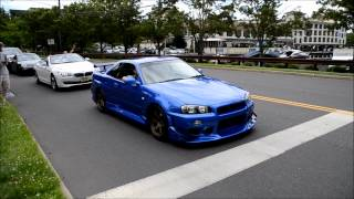MODDED Nissan Skyline R34 LOUD REVS and HUGE Acceleration onto freeway