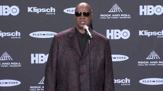Backstage with Stevie Wonder and John Ledgend at the Rock and Roll Hall of Fame Inductions 2015