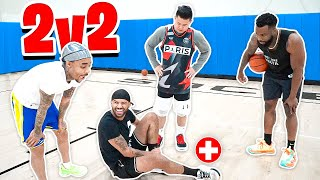 HE GOT INJURED! Me & Flight vs McQueen & Kenny! 2v2 Basketball Rematch!