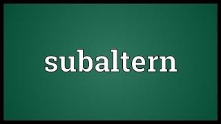 Subaltern Meaning