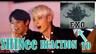 SHINee REACTION TO EXO VCR+ WOLF+ GROWL MMA 2013 width=