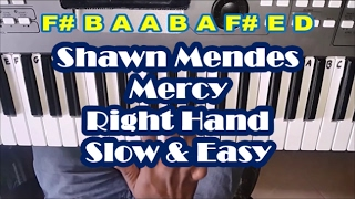 Shawn Mendes - Mercy - Right Hand Slow Easy Piano Tutorial - How To Play