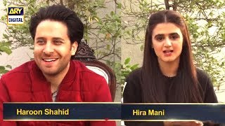 #HiraMani and #HaroonShahid in this exclusive BTS.