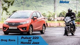 Pulsar 220 vs Honda Jazz - Car vs Bike: Episode 1 | MotorBeam