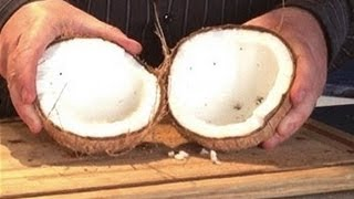 How to crack open a fresh coconut quickly and easily with tools that everybody owns.