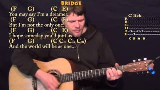 Imagine (John Lennon) Strum Guitar Cover Lesson in C with Chords/Lyrics