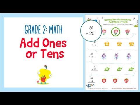 Worksheet: Add Ones or Tens | 2nd Grade Math Worksheets | Kids Academy