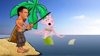 Pedro Pig se come a la sirena Pepa