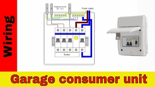 How to wire RCD in garage, shed consumer unit (UK). Consumer unit wiring diagram.