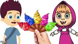 Masha AND Ryder Learn Colors With Ice Cream Cornet Finger Family Song Nursery Rhymes