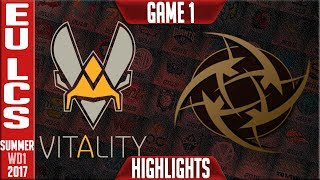 Vitality vs Ninjas In Pyjamas Highlights Game 1 - EU LCS Week 6 Summer 2017 - VIT vs NIP G1