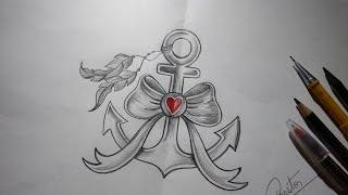 Como desenhar ÂNCORA TUMBLR estilo Tattoo - passo a passo
