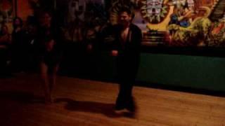 Rositsa and Leo performing salsa at Santa Fe taqueria in Portland