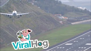 Plane Attempts to Land at Madeira Airport in Strong Winds