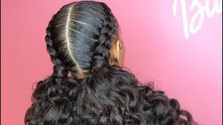 Feed in braids with curly ponytail.