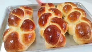 Pão doce caseiro trançado