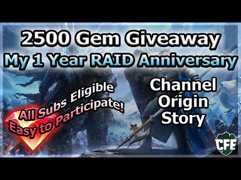 RAID Shadow Legends | 2500 Gem Giveaway! | Channel Origin Story 1 Year Anniversary