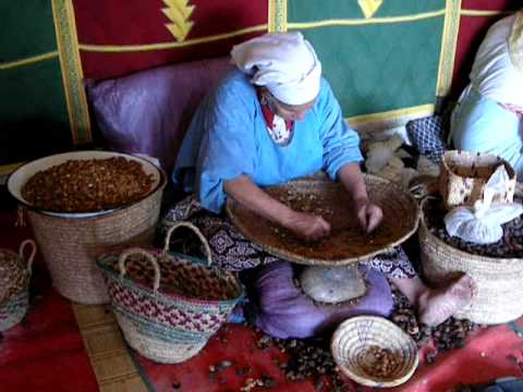 Sorting almonds at Cooperative Marjana, Essaouira, Morocco