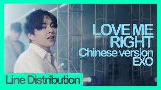 [Line Distribution] EXO - Love Me Right (Chinese version)