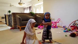 Cutie Fatima is praying with her cousin Maryam