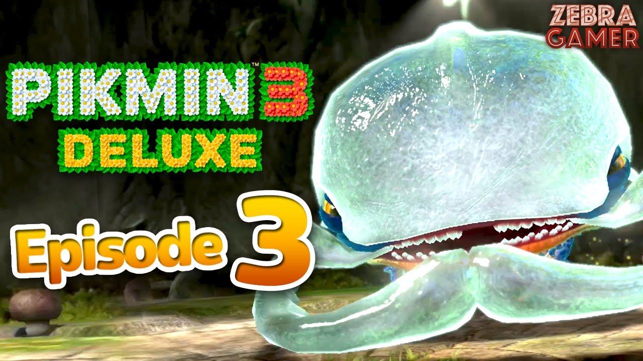 Zebra Gamer - Pikmin 3 Deluxe Gameplay Walkthrough Part 3 - Day 3! Armored Mawdad Boss! Garden of Hope!