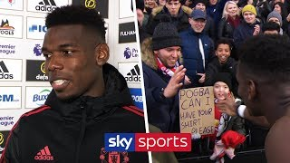 Paul Pogba hands shirt to young fan after MOTM performance against Fulham | Post-Match Interview