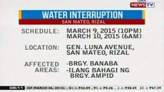 NTG: Ilang lugar sa San Mateo, Rizal, makararanas ng water interruption mamaya