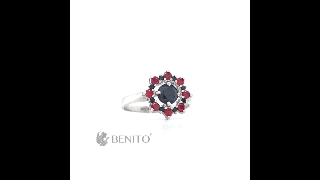 Valentina Ring Red and Black Zircon Stones