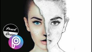 Half Sketch Effect - Picsart Tutorial/picsart manipulation /how to Make sketch face