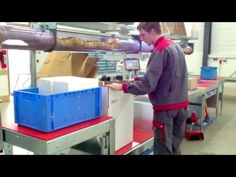 Doppelpackplatz mit Hubtischen und Produktpolsterung