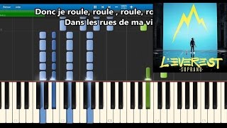 Soprano - Roule - Karaoke / Piano synthesia tutorial (+ lyrics & Sheet music)