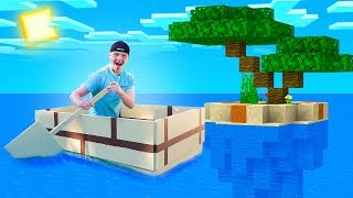 SPENDING 24 HOURS IN A REAL MINECRAFT BOAT!
