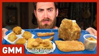 Fried School Lunch Taste Test Ft. Harley Morenstein   TOO MUCH OF A GOOD THING
