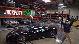 WRECKED Ferrari 458 Parts shopping in a EXOTIC Junkyard! width=