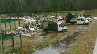 Travellers caught illegally Dumping Rubbish on Big Scale Fly Tipping